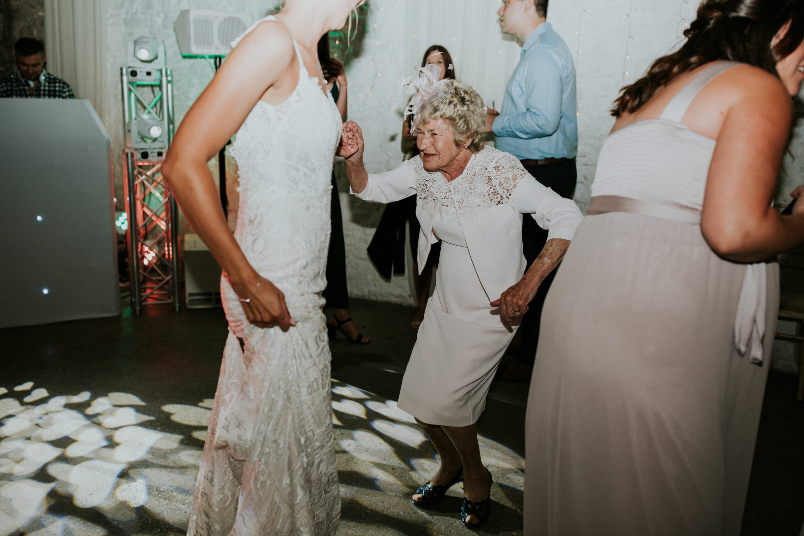 bride and her nan dancing