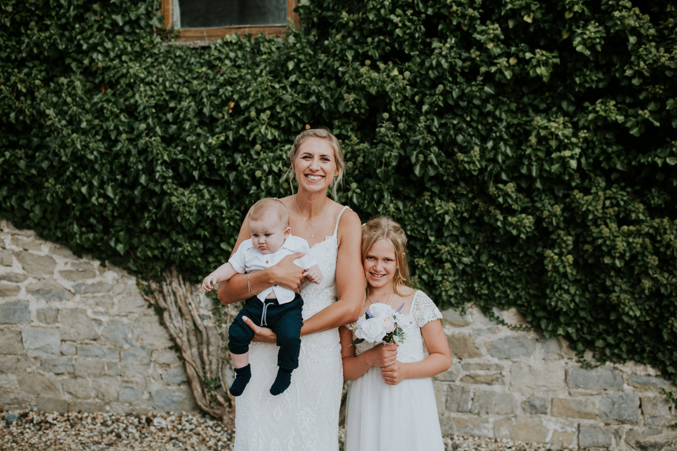 bride with her nephew and niece