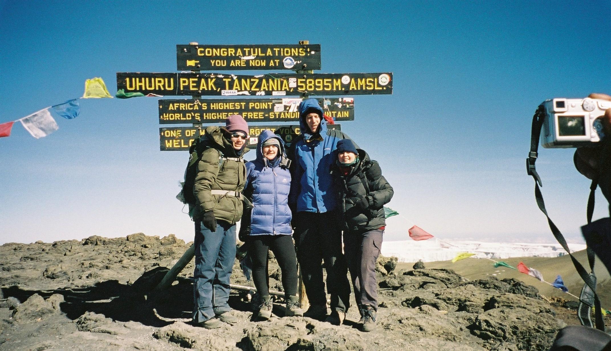Group at the top of Mount Kilimanjaro
