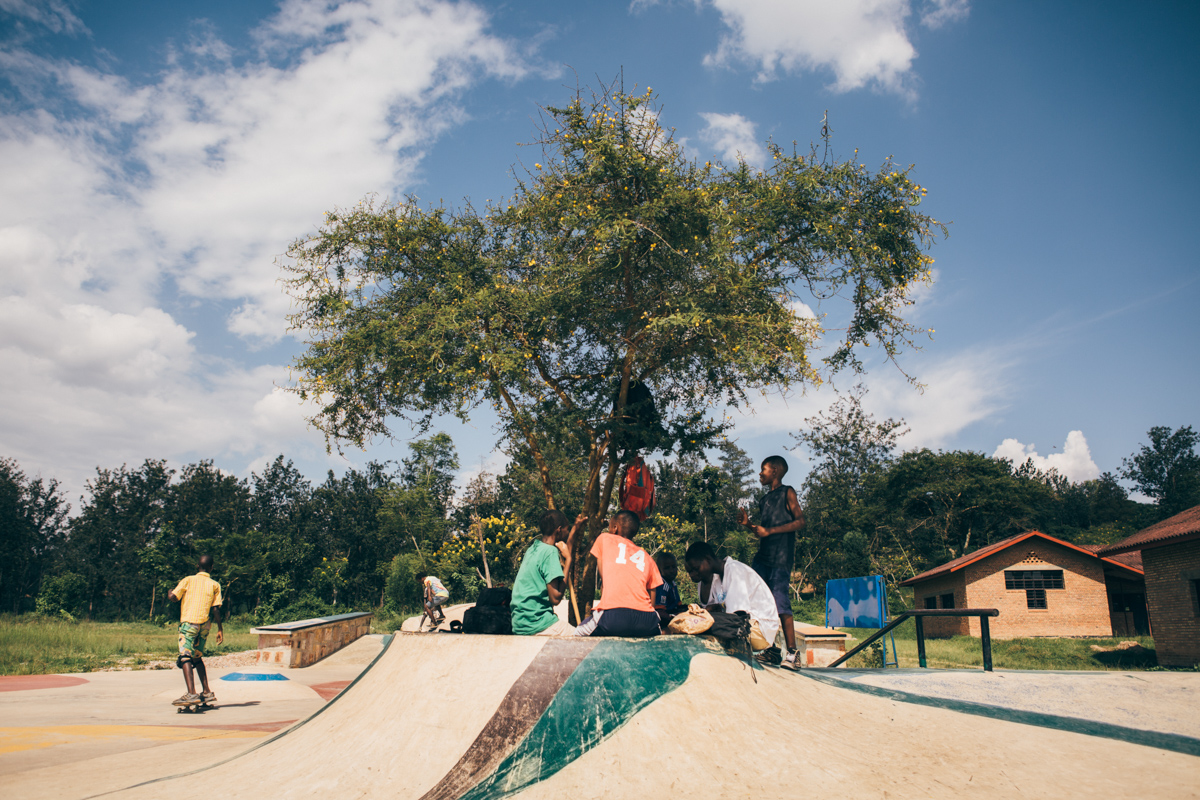 The skatepark is built around a single tree where the kids can rest and hide from the scorching sun.