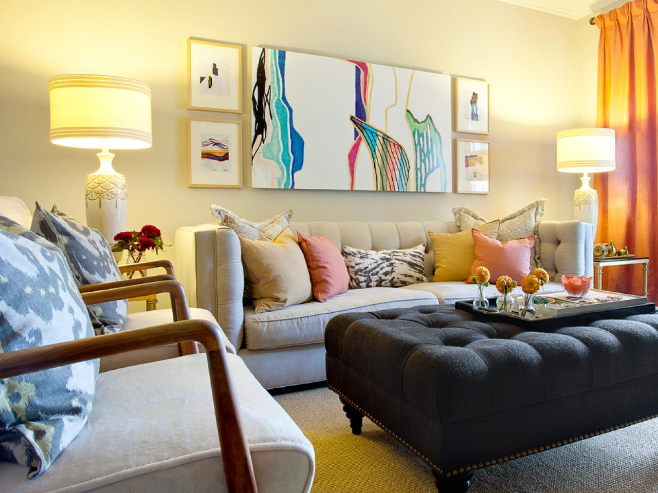 Eclectic Living Room With Colorful Painting
