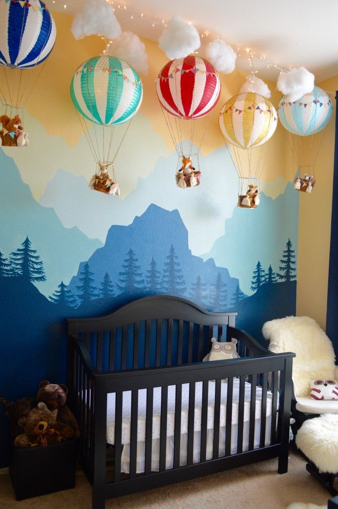 Woodland Nursery with Mural Accent Wall