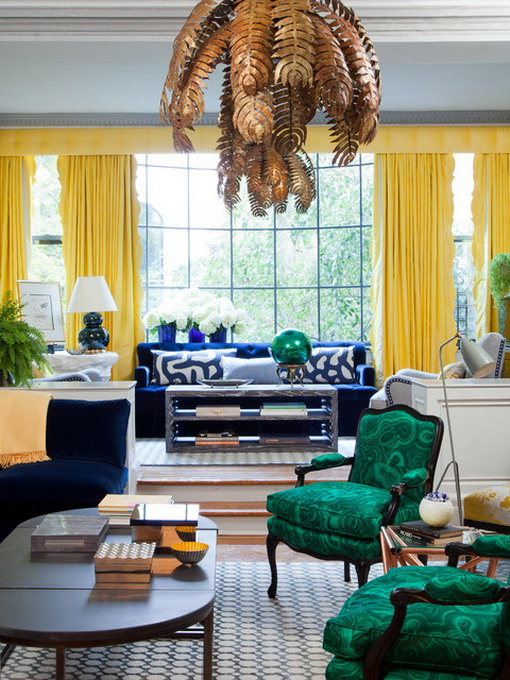 Yellow-Curtain-in-Eclectic-Living-Room