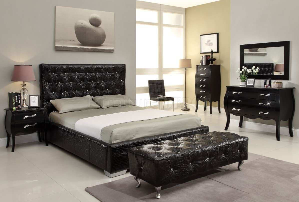 black-elegant-nightstand-modern-bed-set