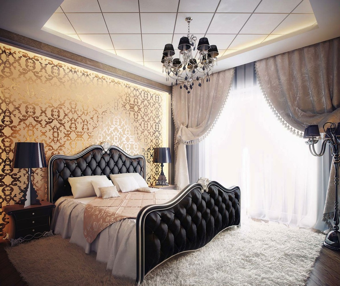luxury-black-and-white-romantic-bedroom-design-with-classic-black-floor-lamp