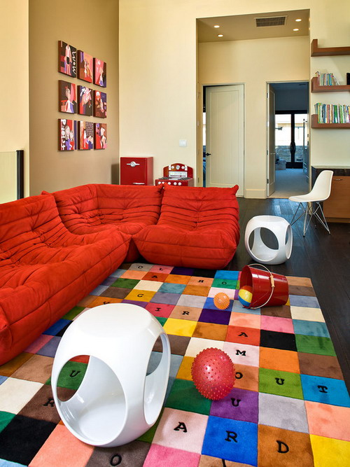 Awesome-Red-Bean-Bags-Couch-in-Living-Room