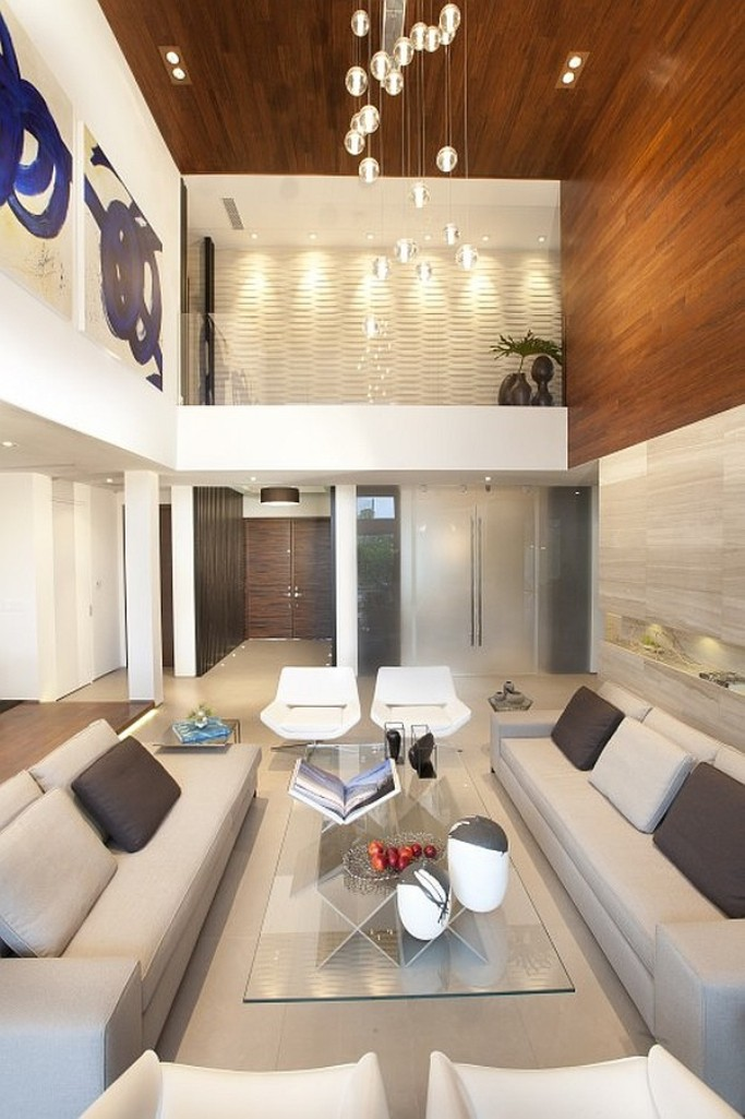 Contemporary Living Room with High Ceiling
