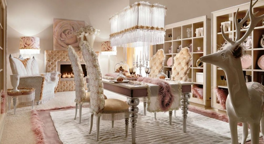 Cute-Crystal-Chandelier-and-Tufted-Dining-Room-Chair