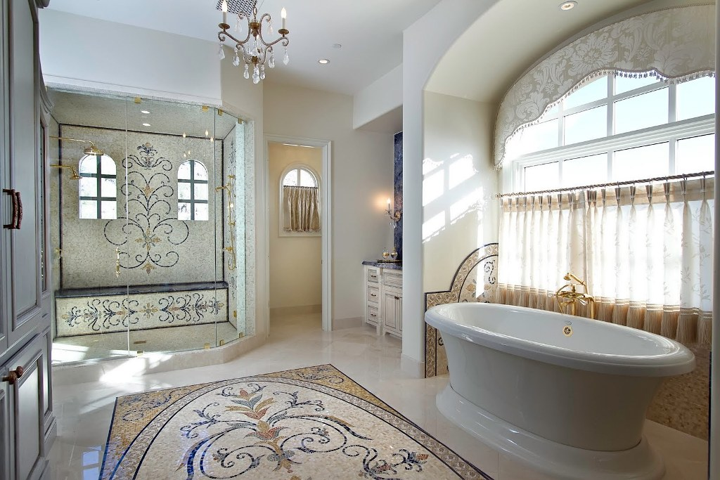 Luxury-bathroom-design-with-handcrafted-marble-mosaic-tiles