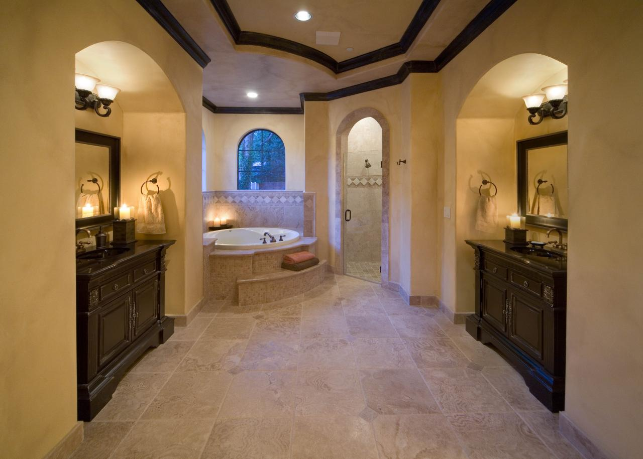 Master Bathroom With Arched Vanities