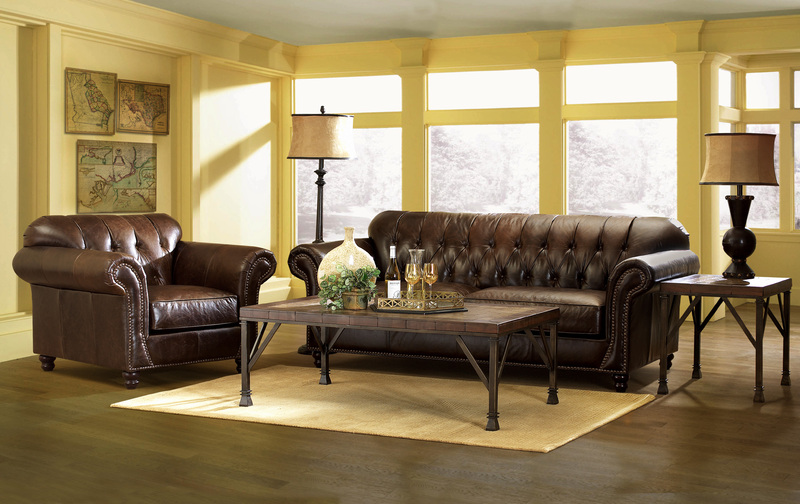 Simple Elegance Flynn Tufted All Leather Sofa