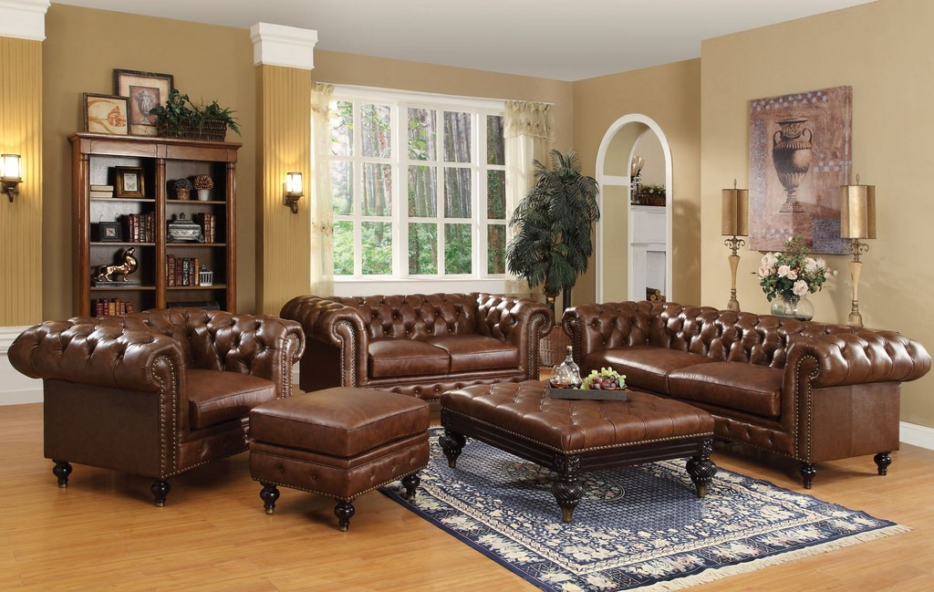Tufted Leather Sofa Livingroom