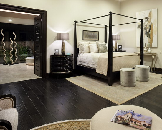 White Bedroom with Dark Wood Furniture