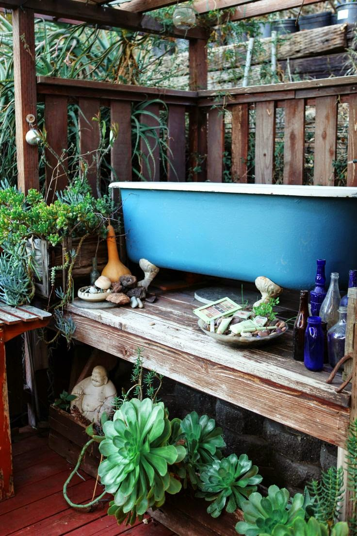 outside outdoor bohemian bathroom