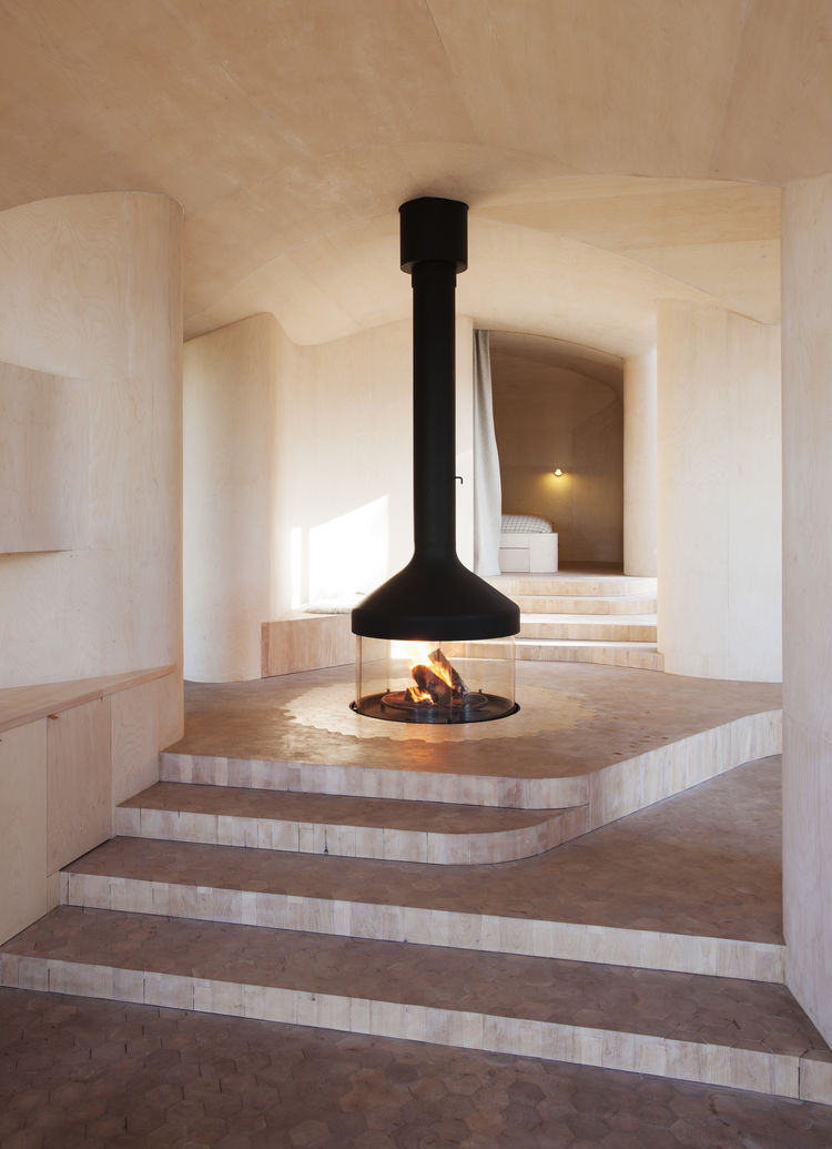 Central Fireplace with Wood Burning Stove