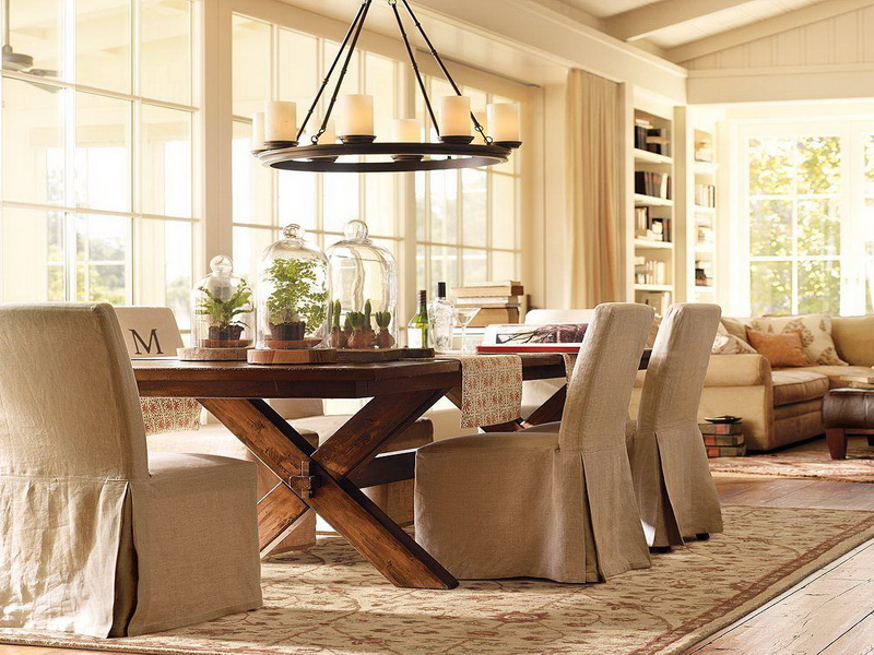 Contemporary Dining Room Design Featuring Beautiful Wooden Dining Table
