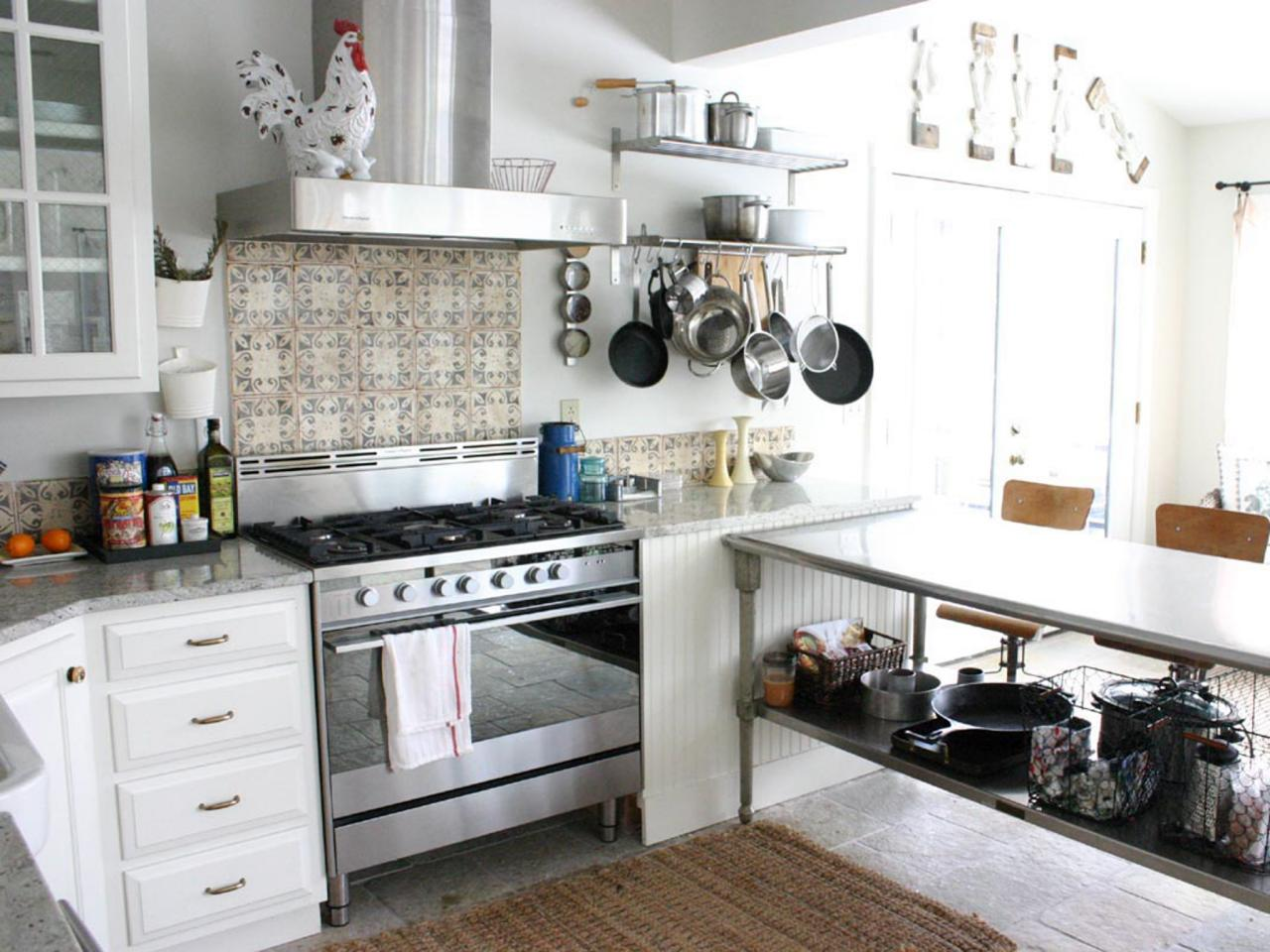 Eclectic Stainless Steel Kitchen Island