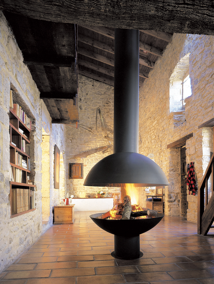 Floating Hood Foyer Fireplace