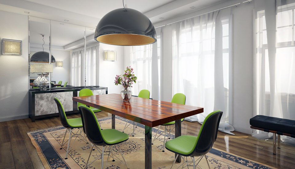 Modern Dining Room with Lime Green Chairs