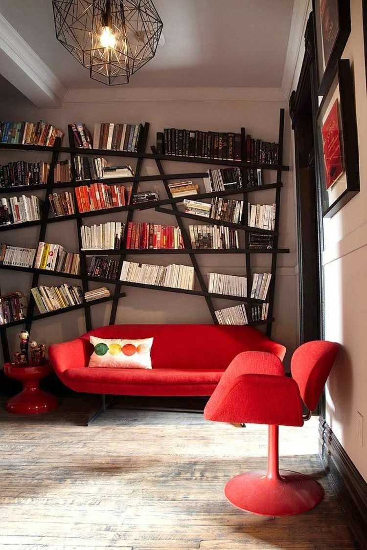 Modern Living Room with Decor with Library