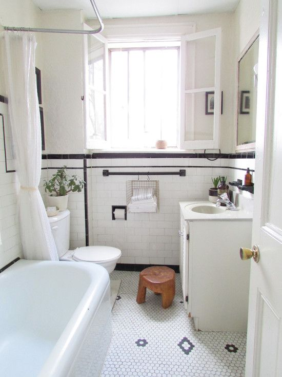 Shabby Chic Bathroom With White Subway Tile Bathroom