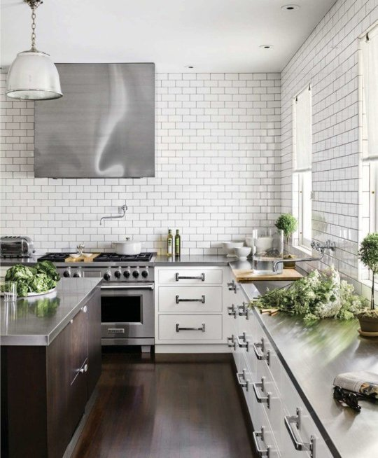Subway Tiles Stainless Steel Countertop Kitchen