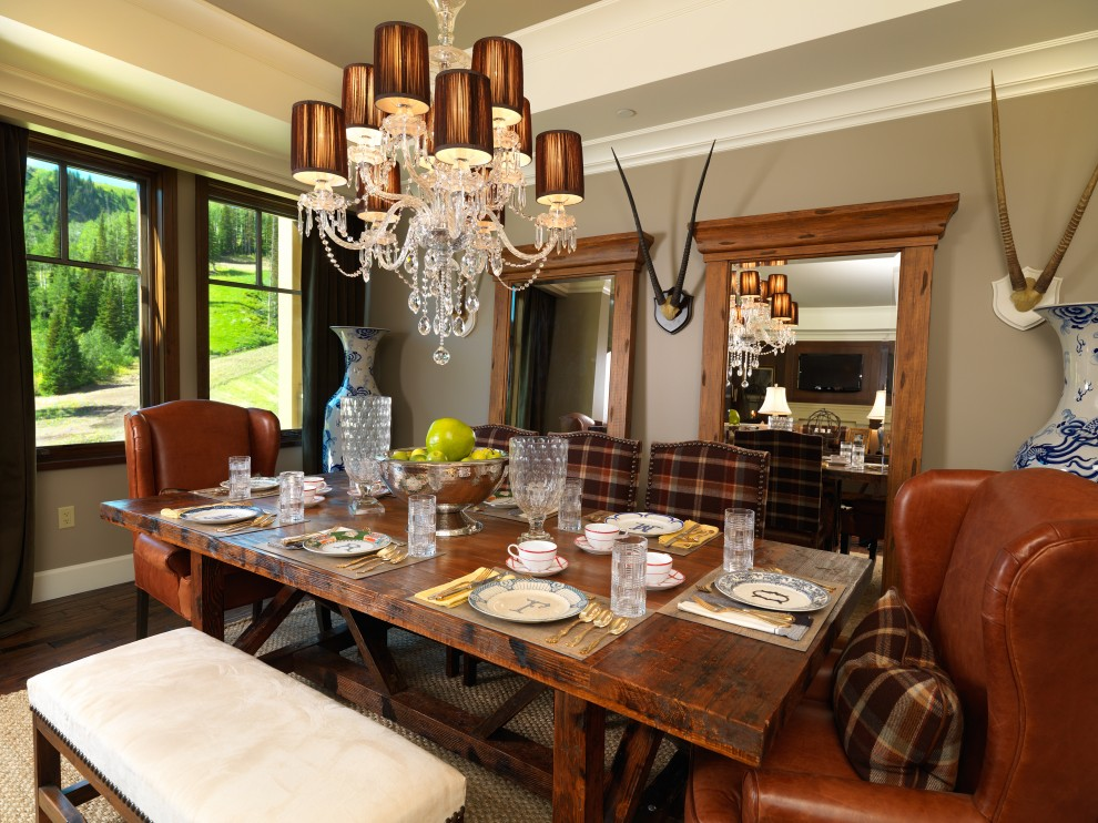 Traditional Dining Room with Antlers Bench Seat