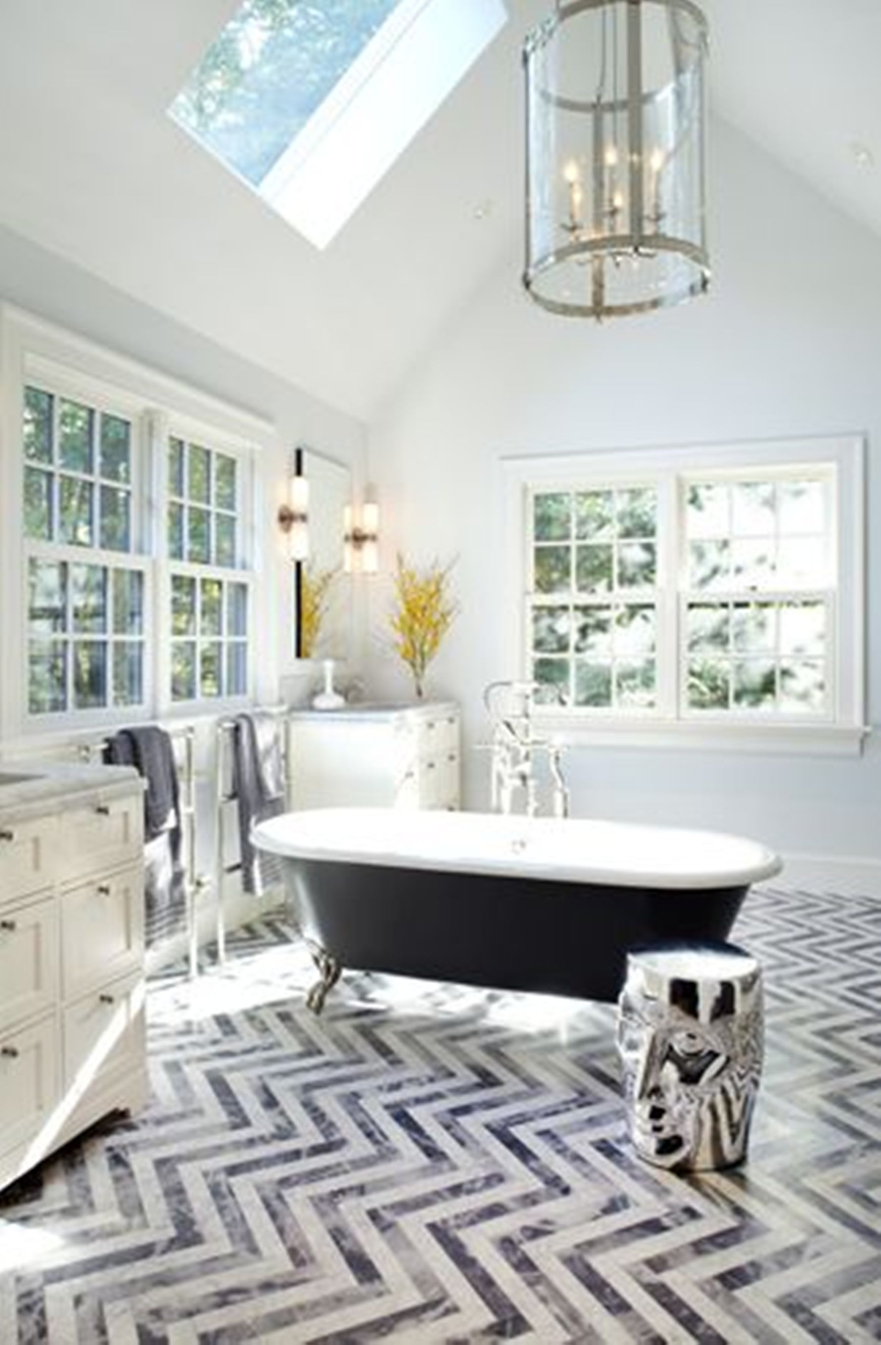 Unique Chevron Floor Eclectic Bathroom