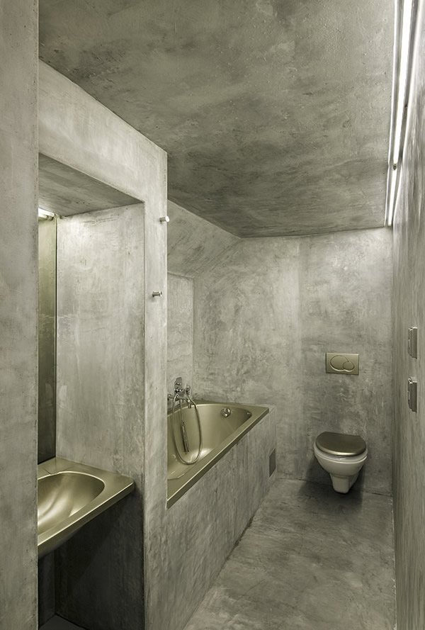 Concrete small bathroom