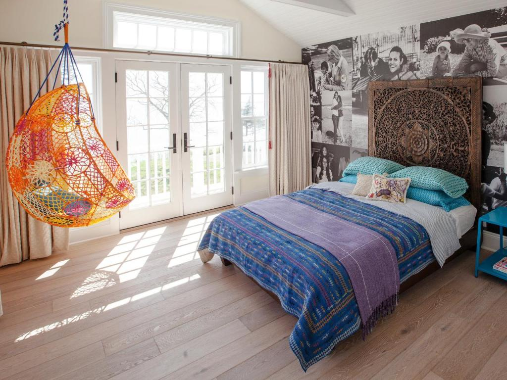 Eclectic Bedroom With Orange Hanging Chair
