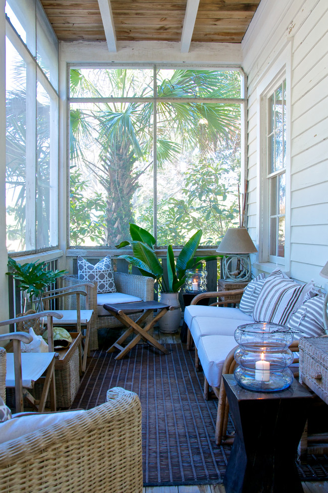Eclectic Porch Remodeling ideas with clapboard siding directors chairs