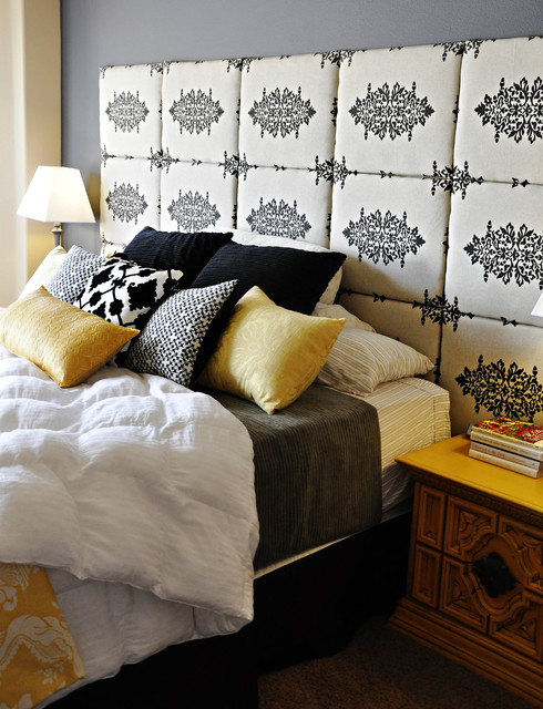 Gray and Yellow Master Bedroom eclectic-bedroom