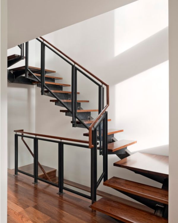 Modern steel railings and wooden steps