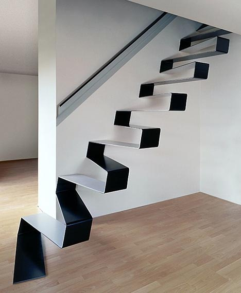 Sleek floating suspended steel staircase
