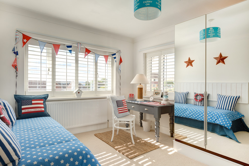 beach themed bedroom ideas Kids Coastal with american flag