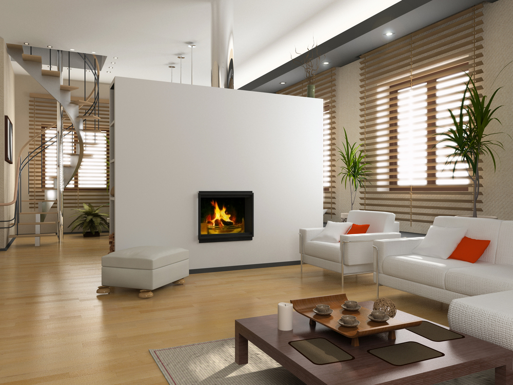 modern living room fireplace