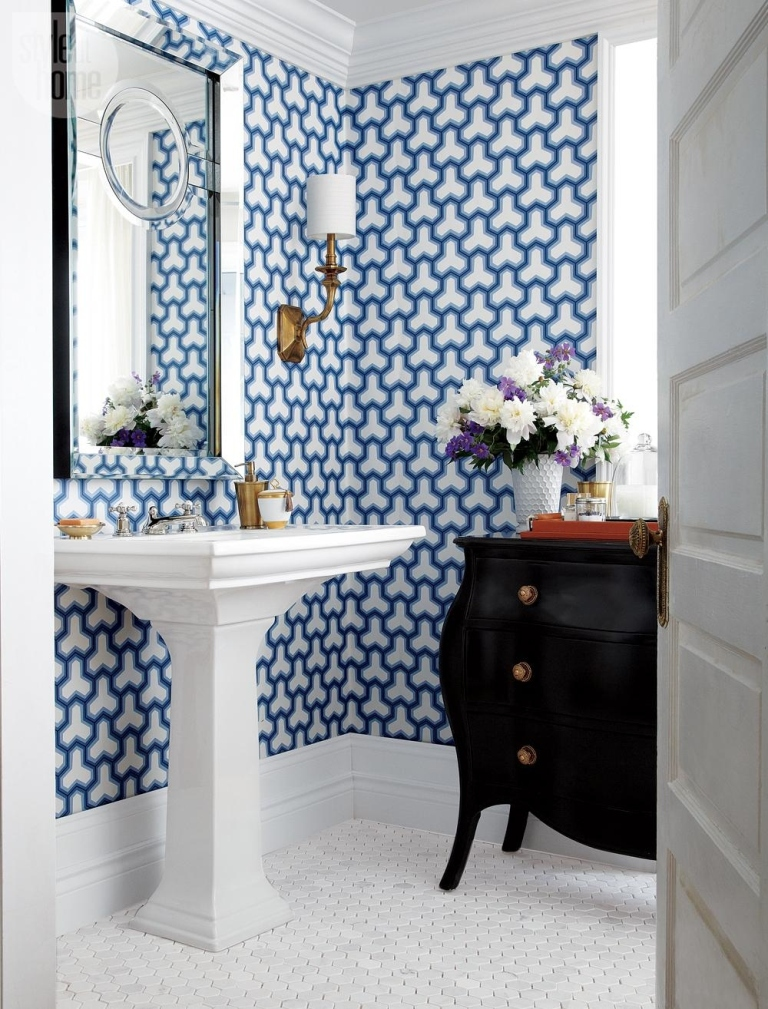 small bathroom with wallpaper