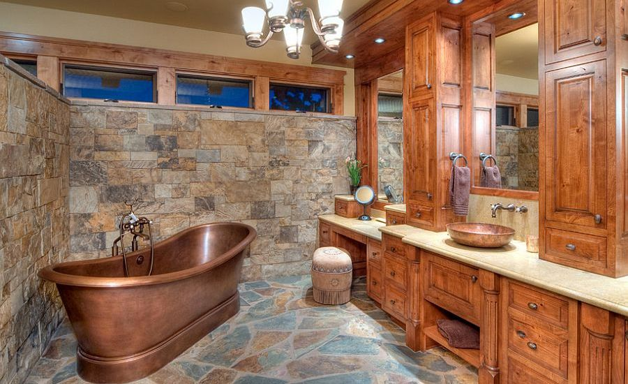 Awesome-rustic-bathroom-with-copper-bathtub
