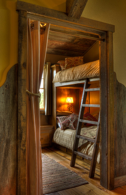 Bedroom Bunks with Ladder rustic-kids