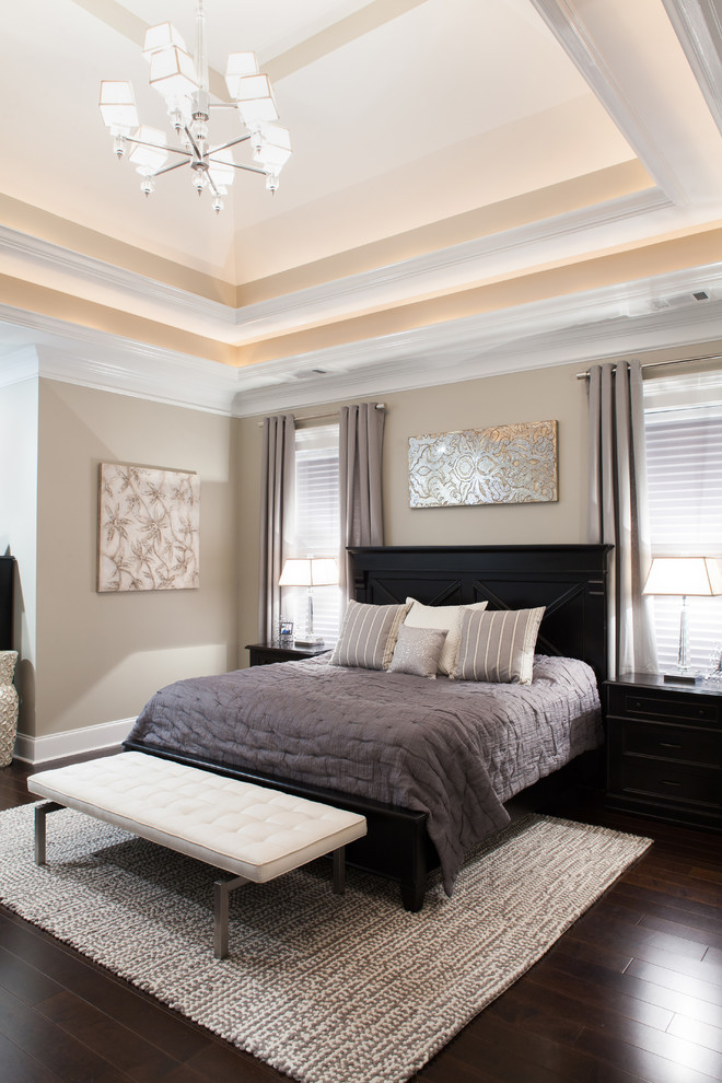 Bedroom Transitional With Beige Walls