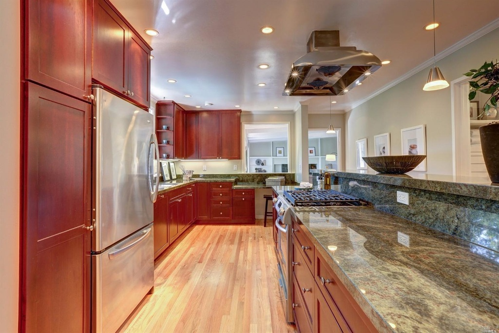 Contemporary Kitchen with Flat panel cabinets