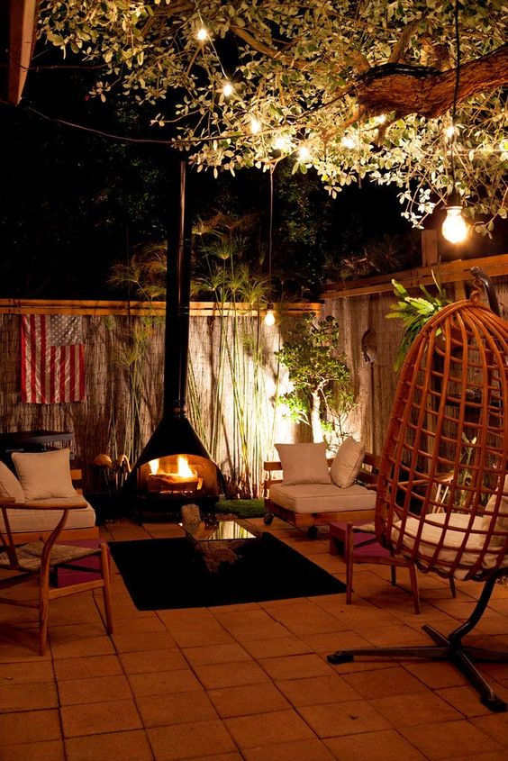 Cozy outdoor backyard with fireplace