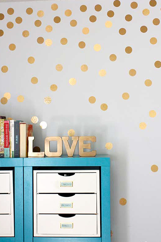 DIY Gold Metallic Polka Dot Walls