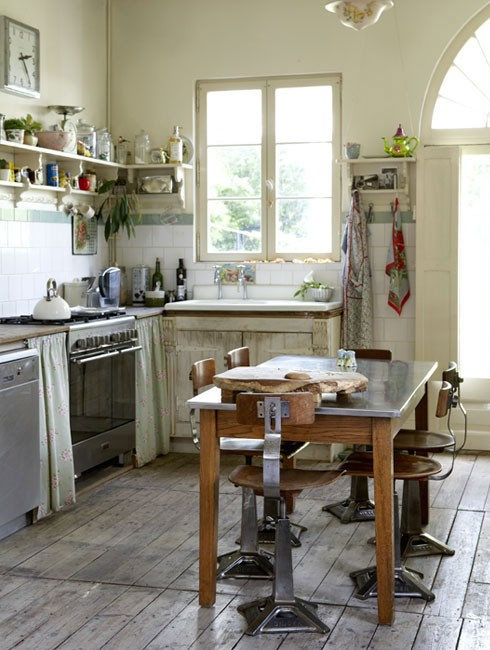French farmhouse kitchen..love the stone wall