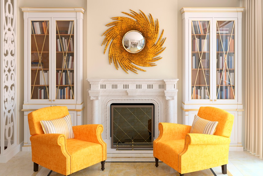 Gold orange living room idea
