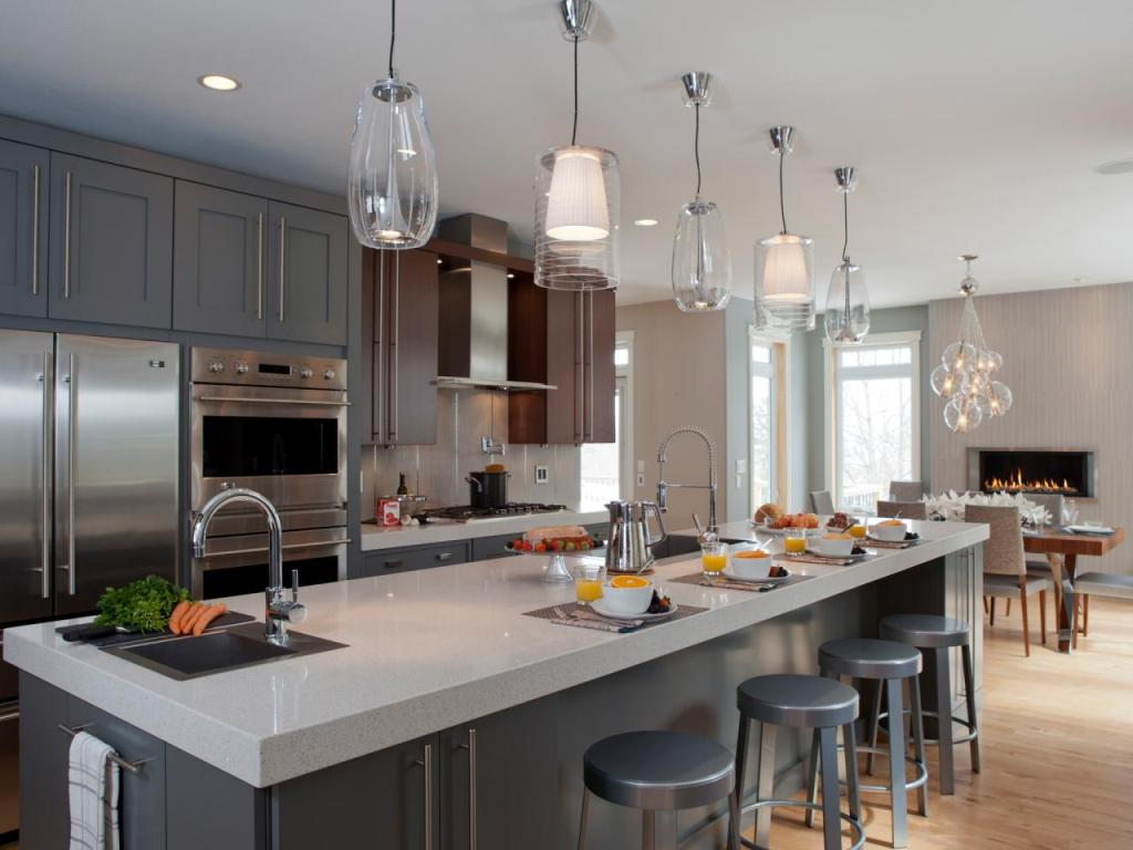 Kitchen Island With Five Midcentury Pendant Lights