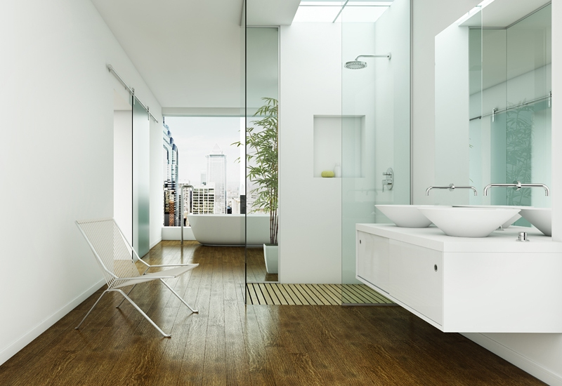 Large bathroom with walk in shower bathtub covered with wooden flooring