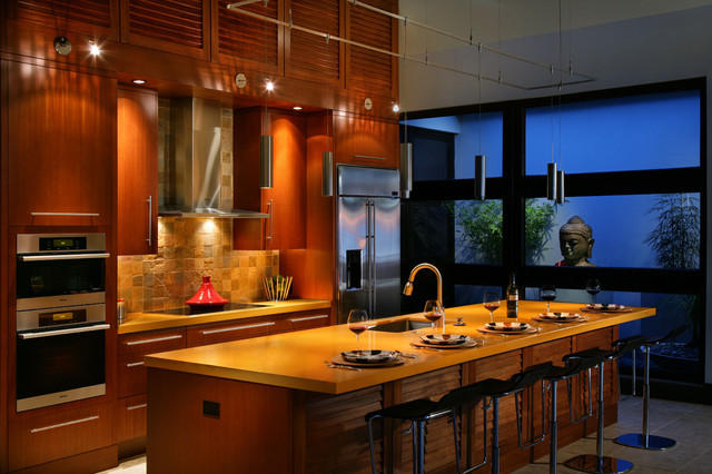 Modern Custom Tropical Kitchen