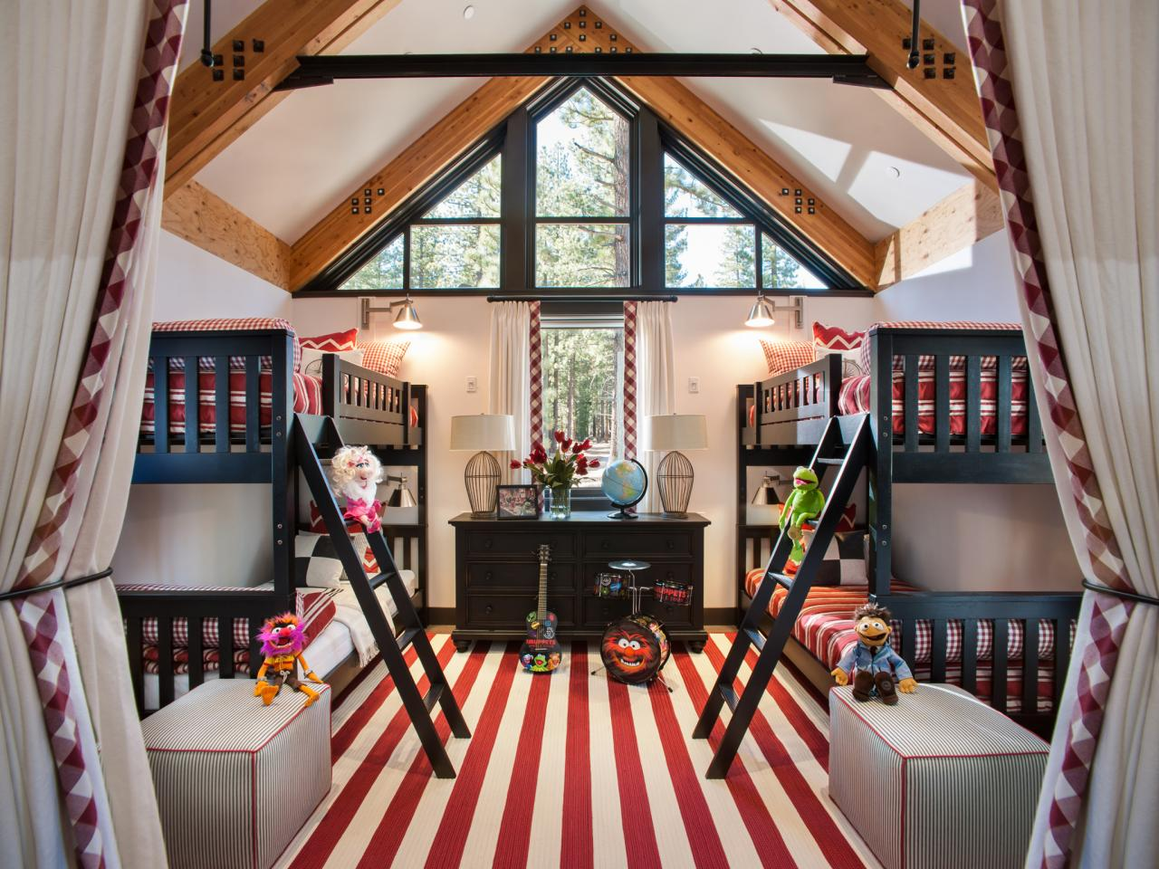 Modern Rustic Red-and-White Kids' Bedroom