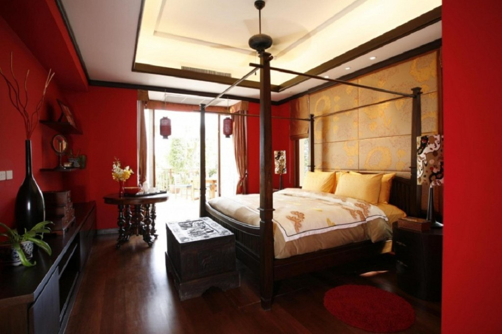 Red Asian Bedroom Decorating Ideas